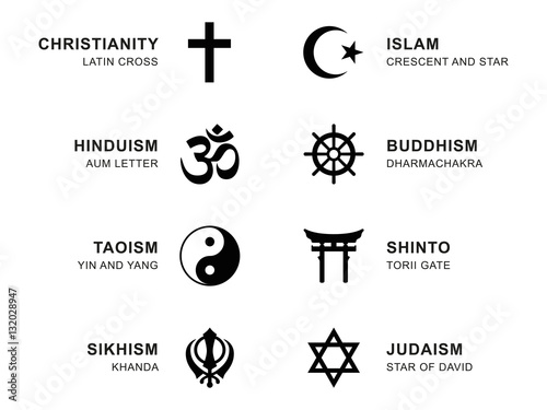 World religion symbols. Eight signs of major religious