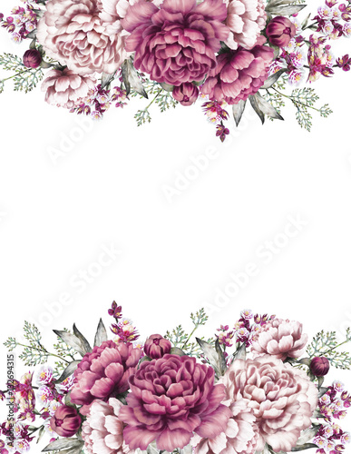 Card, Watercolor wedding invitation design with pink