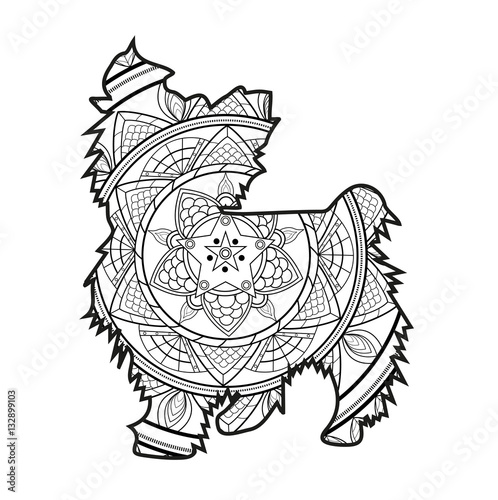 Vector illustration of a mandala dog for coloring book