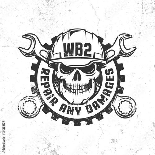 Mechanical repair workshop retro logo with skull in hard