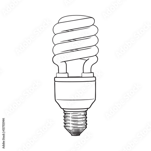 Fluorescent, energy saving, spiral light bulb, side view