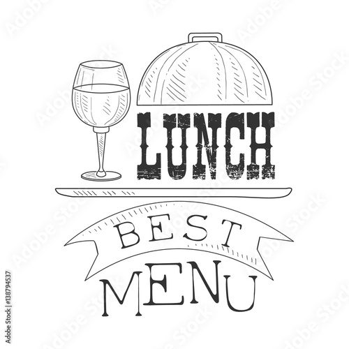 Best Cafe Lunch Menu Promo Sign In Sketch Style With Glass