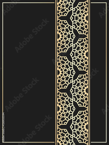 islamic card golden seamless border on