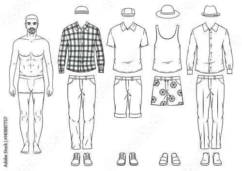 Fashionable man paper dall with clothes. Modern clothing