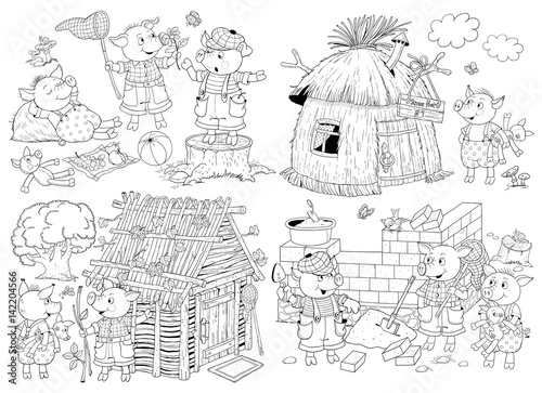 The Three Little Pigs Fairy Tale Coloring Page Coloring Book Cute And Funny Cartoon Characters Buy This Stock Illustration And Explore Similar Illustrations At Adobe Stock Adobe Stock
