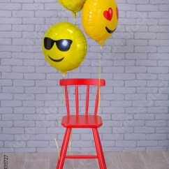 Folding Chair Emoji Stool Repair Grey Apartment Studio With Brick Wall Yellow Details Balloons Red