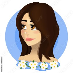 Beautiful girl with big eyes and brown hair In a blue dress with flowers of chamomiles Buy this stock vector and explore similar vectors at Adobe Stock Adobe Stock