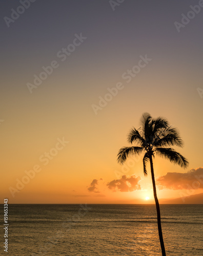 Vertical stock photo of a sunset over the ocean in Maui