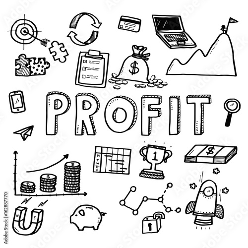 Hand Draw Business Doodles Profit On White Background Concept For Business Idea Startup And Financial Doodle Art Collection Buy This Stock Vector And Explore Similar Vectors At Adobe Stock Adobe Stock