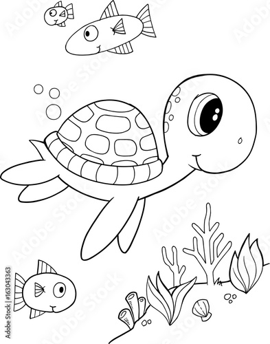 Cute Sea Turtle Vector Coloring Page Buy This Stock Vector And Explore Similar Vectors At Adobe Stock Adobe Stock