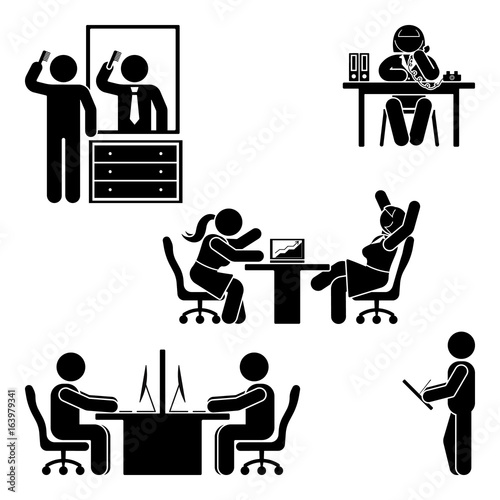 Stick figure office poses set. Business finance workplace
