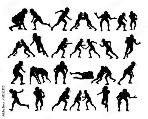 American football players in duel action, vector