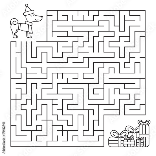 Christmas maze for children, funny dog looking for gifts
