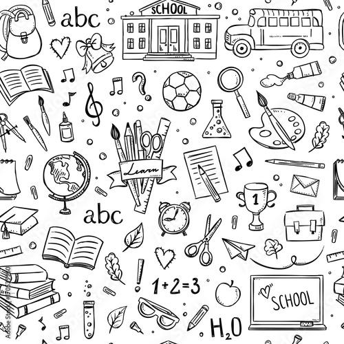 Seamless school pattern. Hand drawn school and education
