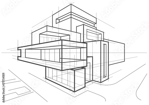 abstract architectural linear sketch of multi-storey