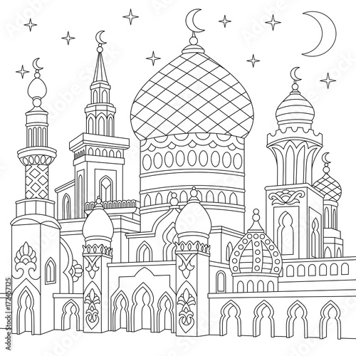 Coloring page of turkish mosque, crescent moons, twinkling