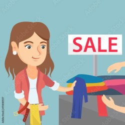 Young caucasian woman buying clothes in the store on sale Woman choosing clothes in the shop on sale Woman shopping in the clothing shop on sale Vector cartoon illustration Square layout