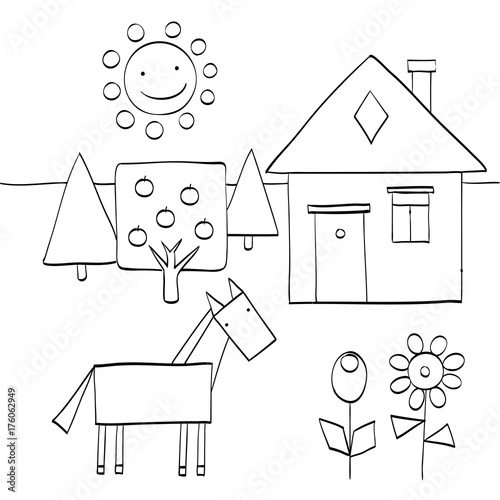 coloring page for children to find geometric shapes in