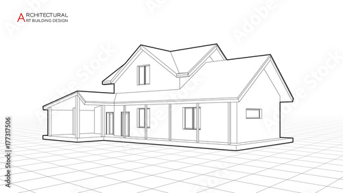 Modern house building vector. Architectural drawings 3d