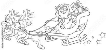 Weihnachtsmann im Schlitten mit Rentieren   Vektor ...