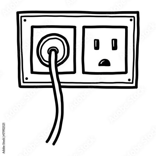 plug and electric socket / cartoon vector and illustration