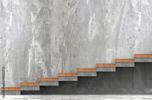 3D Rendering Wood And Concrete Stairs With Copy Space Rough   Wood And Concrete Stairs   House   Internal   Glass   Small Space   Pinterest