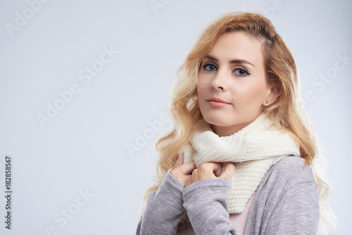 pretty woman wearing scarf