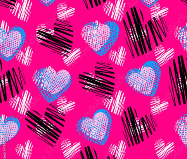 Abstract Seamless Heart Pattern For Girlsboys Creative Vector Background With Hearts Cute