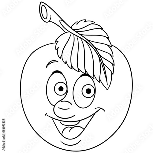 Coloring book. Coloring page. Cartoon Apple character