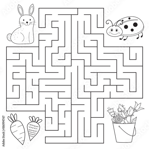 Help bunny and ladybug find way, spring education maze for