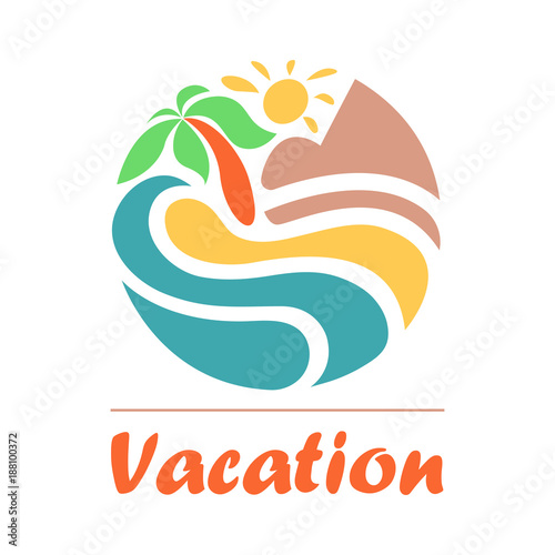 Summer Travel Vacation Logo Concept In Circle Shape Sea Resort Waves Mountains Sun And Palm Tree Paradise Beach Color Graphic Sign Vector Illustration Buy This Stock Vector And Explore Similar Vectors