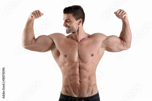 handsome muscular male flexing