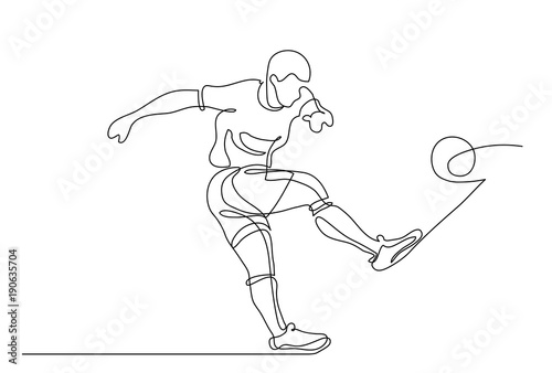 Continuous line drawing. Illustration shows a football