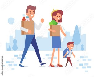 Happy family shopping parents with happy kid Flat Vector illustration cartoon design Buy this stock vector and explore similar vectors at Adobe Stock Adobe Stock
