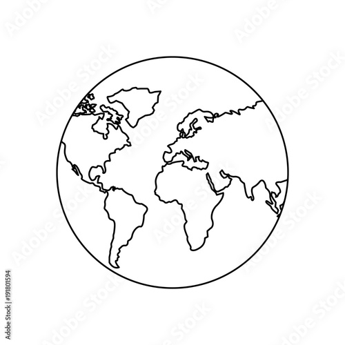 earth planet world globe map icon vector illustration