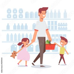 Happy family shopping Dad and happy kids in supermarket Flat Vector illustration cartoon design Buy this stock vector and explore similar vectors at Adobe Stock Adobe Stock