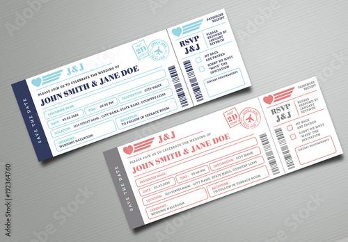 Boarding Pass Wedding Invitation Ticket This Stock