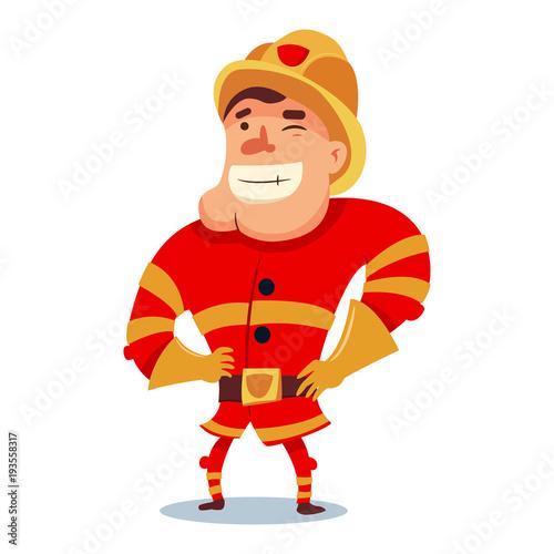 cute fireman in helmet