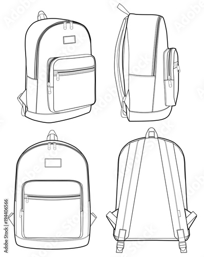 Basic Backpack fashion flat technical drawing template