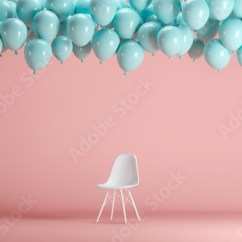 Chair With Balloons Oversized Club White Floating Blue In Pink Pastel Background Room Studio Minimal Idea Creative Concept