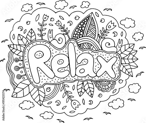 Coloring page for adults with mandala and relax word