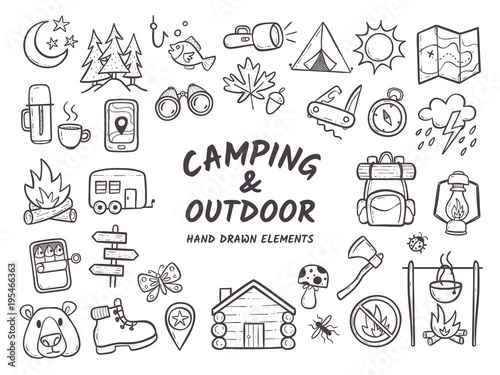 Hand drawn camping and hiking elements, isolated on white