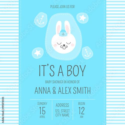 cute baby shower boy invite card vector