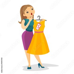 Caucasian white woman shocked by price of dress in clothes shopping mall Young surprised woman looking at the price tag Vector cartoon illustration isolated on white background Square layout Buy this