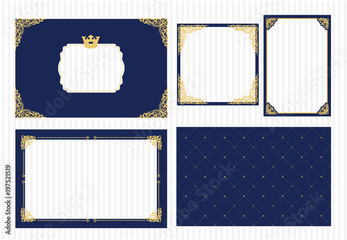 vector picture frame dark navy blue