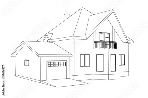 3D suburban house model. Drawing of the modern building