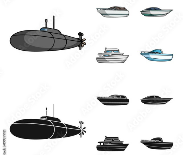 A Military Submarine A Speedboat A Pleasure Boat And A Spirit Boat Ships
