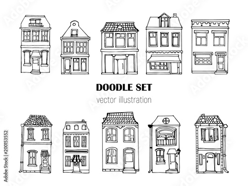 Hand drawn European city houses set in cute cartoon style