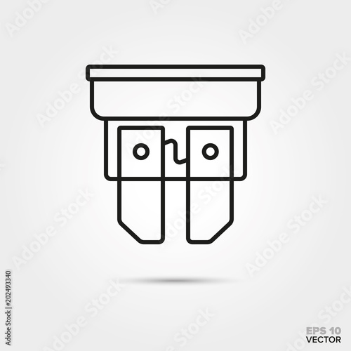 car fuse vector line icon. Automotive parts, repair and
