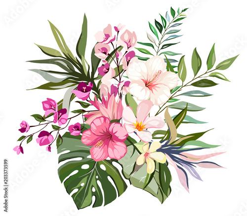 tropical vector flowers card